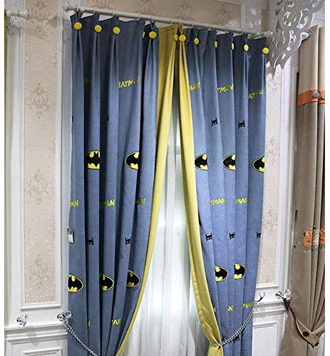 QYDF Verdunkelungsvorhänge mit Blackout-Fenster für Kinderschlafzimmer, Master amerikanischen Kinderbett, 2 Stück, Batman,Grommet,200X230cm