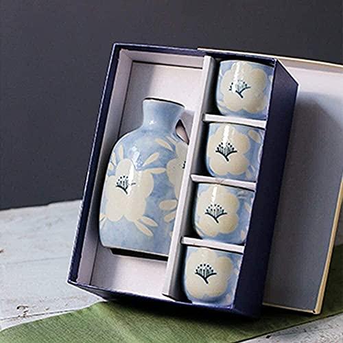 Platos - Juego de 6 cuencos para sake, copas de vino de cerámica negra japonesa con bandeja de cerámica, tazas artesanales tradicionales, para sake frío / caliente / caliente / shochu / té,