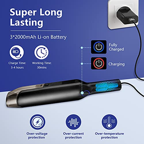LAOPAO Portable Car Vacuum Cleaner High Power 9Kpa Hand Vacuum Cordless Rechargeable Car Seat Cleaner, 3x2200mAh Li-ion Battery Quick Charge Mini Vacuum for Home/Car/Pet Hair Cleaning
