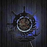 xcvbxcvb Yate mar velero Ancla telescopio Reloj de Pared Volante náutico Reloj de Vinilo Vintage Colgante de Pared Hecho a Mano decoración de Arte