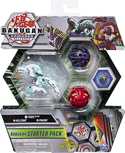 Bakugan Starter Pack 3-Pack, Trox Ultra, Armoured Alliance Collectible Action Figures