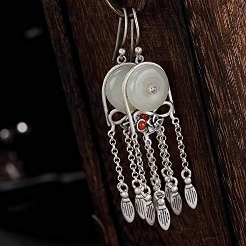WOZUIMEI Chinese Style Earrings Eardrop S925 Sterling Silver Inlaid Nephrite White Jade Safe Buckle Tassel Retro Personality Earrings As Shown