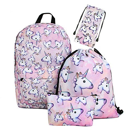zaino unicorno Leah' fashion Fashion colorato cute happy 3d stampato Unicorno Rosa Delle Ragazze Zaini pack of 4