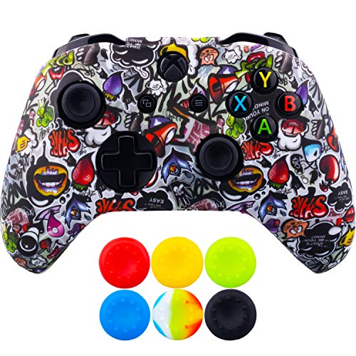 9CDeer 1 Piece of SiliconeTransfer Print Protective Cover Skin + 6 Thumb Grips for Xbox One/S/X Controller Strawberries