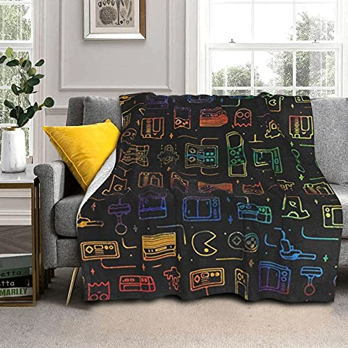 Game Video Gaming Pattern Warm Thicker Blanket Air Conditioning Blanket Soft Throw Blankets Comforter for Bed Sofa Couch Chair Decor