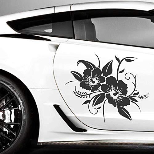 INDIGOS UG Aufkleber - 2er Set Autoaufkleber Hibiskusblüten je 60cm x 72cm schwarz - Tuning Carystyling Heckscheibe Auto