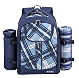 Eono by Amazon - 4 Person Picnic Backpack Hamper Cooler Bag with Tableware