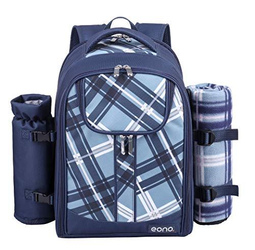Eono by Amazon - 4 Personen Picknickrucksack Kühltasche mit Geschirrset & Decke, Blau, L