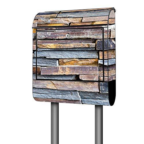 Banjado Design Briefkasten mit Motiv Naturstein | Stahl pulverbeschichtet mit Zeitungsrolle | Größe 39x47x14cm, 2 Schlüssel, A4 Einwurf, inkl. Montagematerial