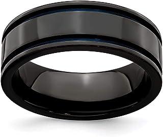 Titanium Black Ti Two-tone 6.5mm Polished Band Best Quality Free Gift Box