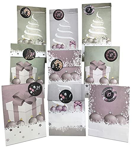 endlosschenken Adventskalender zum Befüllen - Weihnachtskalender zum selber Basteln mit großen Tüten rosa Kraftpapier Frauen (rosa/schwarz)