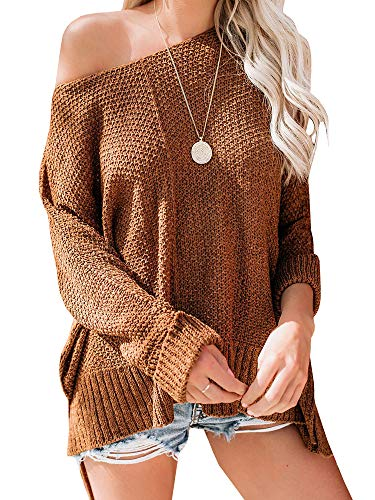 Ybenlow Womens Off Shoulder Sweaters Batwing Sleeve Loose Slit Oversized Pullover Knit Jumper Slouchy Tunic Tops Brown
