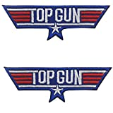 US Navy Air Force Top Gun Logo Embroidered Patch Military Tactical Morale Fastener Hook Loop Backing Patches Cosplay Costume Appliques Badges 3.54 x 1.18 inch 2PCS