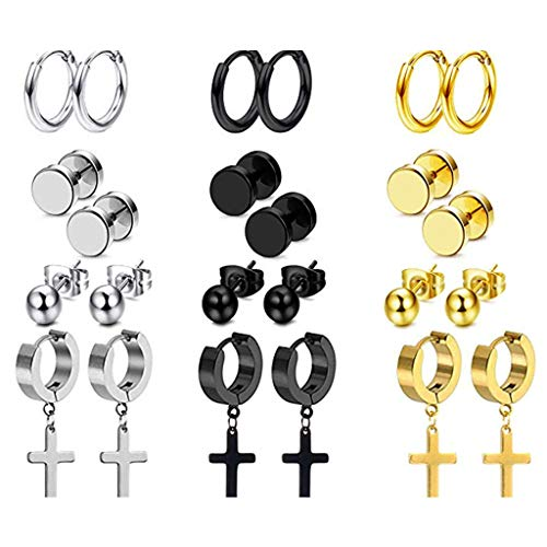 Chou 12 Pairs/Set Unisex Women Men Stainless Steel Piercing Earrings Ear Studs Drop Dangle Pendant Jewelry Gifts Decorations