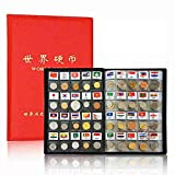 Coin Collection Starter Kit 120 Countries Coins Collection Set 100% Original Genuine World Coin with Leather Collecting Album Taged by Country Name and Flags (120 Collection Starter Kit)