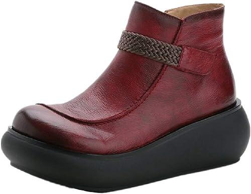 ZHRUI Bottes à Talons compensés pour Femmes Femmes avec Plateforme en Cuir et Chaussures à glissière (Couleuré   Rouge, Taille   EU 39)  qualité authentique