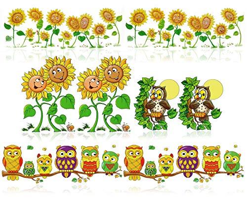com-four® 8X Fensterbilder mit Sonnenblumen und Eulen Motiven - statisch haftende Fensterfolie - Herbst-Fenstersticker (08-teilig - Eule + Sonnenblume)