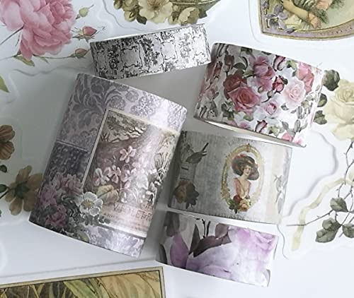 Vintage Victorian Ladies, Roses washi Tape and die Cut Sticker Set.INCL Extra...
