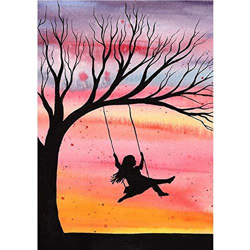 Pintura por números para adultos Columpio, niña autorretrato digital al óleo, kit de pintura para adultos y niños, cumpleaños, bodas, alojamiento, decoración, regalos Sin marco