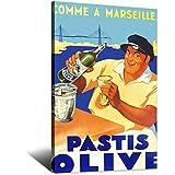 Póster vintage de pastis OliveCanvas Art Poster Pintura para habitación de niños y niñas, póster moderno para oficina, dormitorio familiar, decoración de pared, regalo de 30 x 45 cm