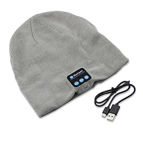 Aussel drahtlose Bluetooth Beanie Wollmütze Hands Free Musik Kappe mit Kopfhörer Lautsprecher Mikrofon für Outdoor Sports Langlaufen Laufen Weihnachtsgeschenke
