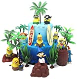 Despicable Me MINIONS Themed Birthday Cake Topper Set Featuring Figures and Decorative Themed Accessories