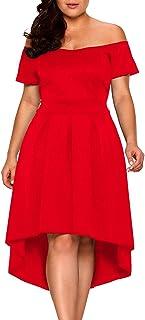 XAKALAKA Women's Plus Size Off Shoulder Pleated High Low Maxi Wedding Cocktail Dress …