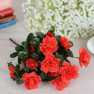 Silk Flower Arrangements Fake Flower Fall Outdoor Artificial Red Azalea Flowers Bushes UV Resistant Fake Flowers Home Decor Small Decorations for Garden Valentine's Day
