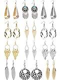 12 Paires Boucles d'Oreilles Pendantes Bijoux Fantaisie Dorés Argentés Boucles d'Oreilles Exagérées Pompons Franges pour Femmes Filles (Style B)