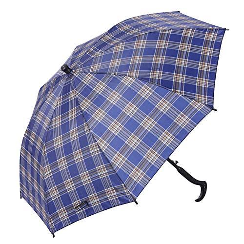 ZWYY Spazierstock Regenschirm, Männer Langen Griff Winddicht Cane Umbrella Ältere Rutschfeste Geschenk Regenschirm Outdoor Bergsteigen Regenschirm,B