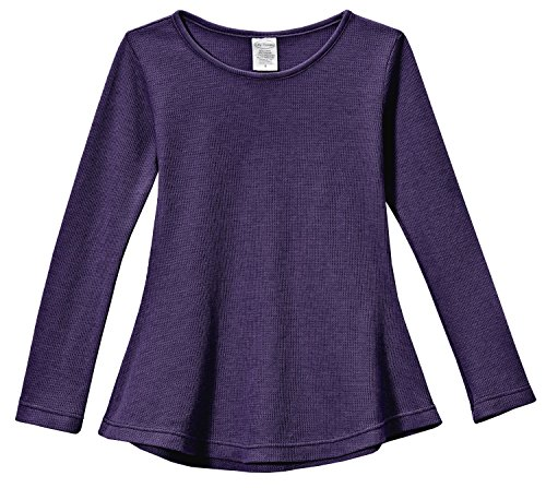 City Threads Big Girls' Thermal Long Sleeve Tunic Shirt Tee Dress for School Party Play, Purple, 8