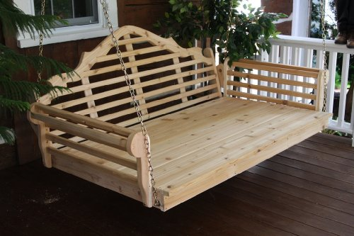 Outdoor 5' Marlboro Swing Bed - Oversized Porch Swing - Stained- Amish Made USA -Cedar