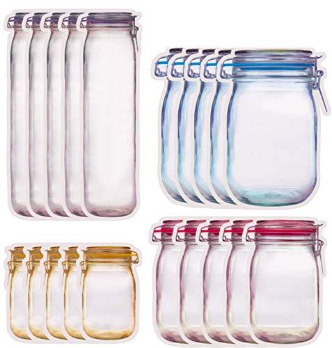 DMFSHI Bolsa De Almacenamiento De Tarros De Albañil, 25 PCS Bolsa Alimentos Reutilizable, Mason Bag Fresh Zipper Bag Bolsa De Almacenamiento De Alimentos Para Hornear Galletas Snacks Candy