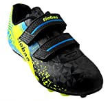 T&B Kid Soccer Cleats Youth Boys Baseball Cleats Light Weight Running Soccer Cleat Shoes Black/Green 76660A-Hei-37-5.5US