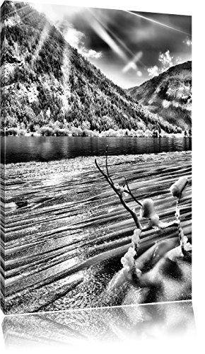 Pixxprint Winterlandschaft See als Leinwandbild | Größe: 80x60 | Wandbild| Kunstdruck | fertig bespannt