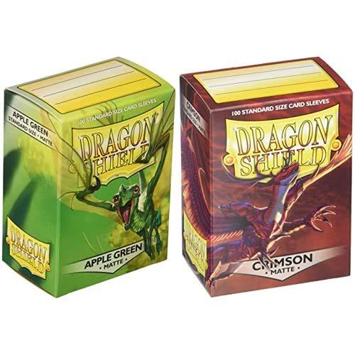 Dragon Shield - 11018 Mangas estándar Verde Manzana Mate (100 Mangas) + Funda Crimson (100)