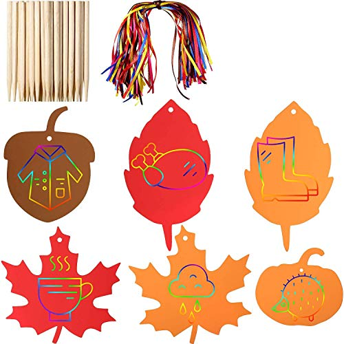 Gejoy 70 Pieces Thanksgiving Rainbow Scratch Paper Craft Kit Scratch Off Paper Fall Leaves Pumpkins Acorns Pattern Paper with Ribbons and Wooden Styluses for Harvest Party Decorations