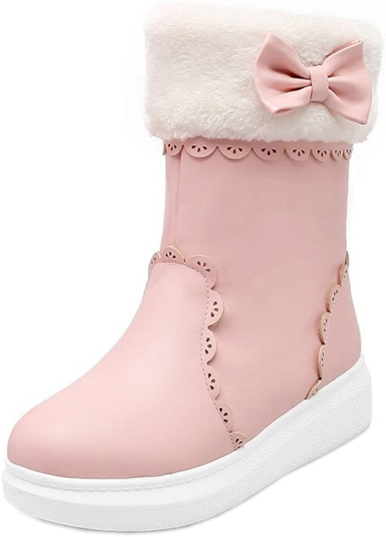 AicciAizzi Girls Cute Flats Snow Boots Pull On