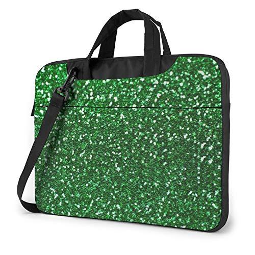 Laptop Shoulder Bag - Green Sequin Sparkle Printed Shockproof Waterproof Laptop Shoulder Backpack Bag Briefcase 15.6 Inch