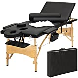 Best Choice Products Portable 84' Tri-Folding Massage Table Bed Set With Cover- Black