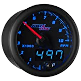 MaxTow Double Vision 10,000 RPM Tachometer Gauge - for 1-10 Cylinder Gas Powered Engines - Black Gauge Face - Blue LED Illuminated Dial - Analog & Digital Readouts - 2-1/16' 52mm