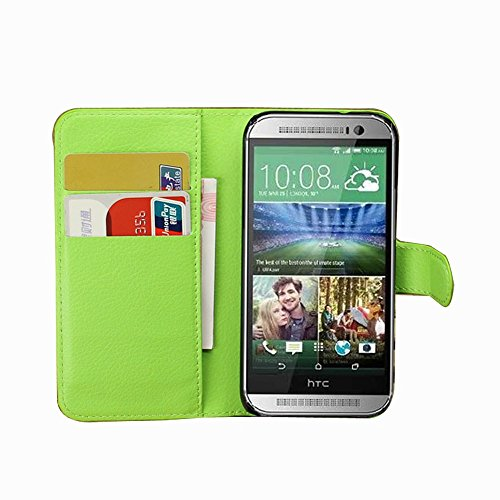 Tasche für HTC One Mini 2 Hülle, Ycloud PU Ledertasche Flip Cover Wallet Case Handyhülle mit Stand Function Credit Card Slots Bookstyle Purse Design grün