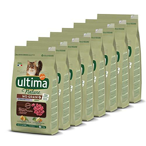 Ultima Nature No Grain Pienso para Gatos Esterilizados sin Cereales con Buey, Pack de 8 x 1.1Kg - Total: 8.8kg