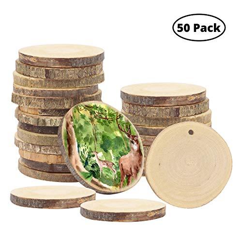 Kurtzy Holzscheiben (50 Stück) - 3-5cm Unbehandelte Natur Runde Baumscheiben mit Loch - Rustikale Log Holzkreise zum Aufhängen Handwerk Deko, Hochzeit Mittelstücke, DIY Basteln