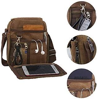 Canvas Messenger Bag Travel School Work Crossbody Bag Multifunctional Outdoor Sports Purse Brown