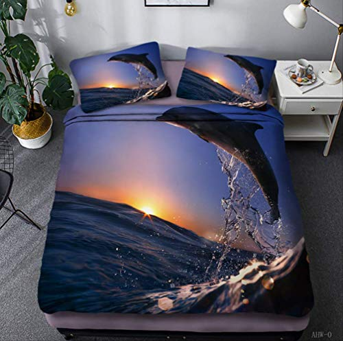 N/D Ocean Animal Dolphin Department Three Piece 3d Digital Four Piece Single Twin Double Queen King Quilt Cover 200x230cm K