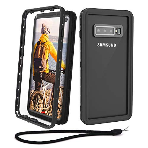 Beeasy Funda Samsung S10 Plus,Impermeable 360 Grados Protección IP68 Carcasa para Galaxy S10+ Antigolpes Rígida Robusta Resistente Impacto Militar Duradera Blindada Fuerte Seguridad Case Cover,Negro