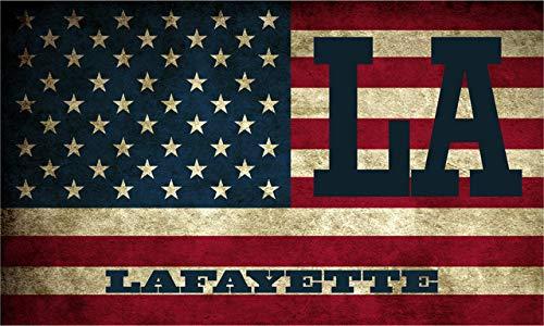 "Lafayette LA Louisiana Lafayette County Vintage US Flag Decal Bumper Sticker 3M Vinyl 3"" x 5"""