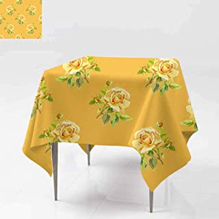 Fbdace Square Table Cloth,Watercolor Roses Seamless Wallpaper Floral pattern1 Stain Resistant, Washable 70x70 Inch