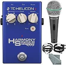 TC-Helicon Harmony Singer 2 Vocal Processor and Harmony, Reverb, Tone Floor Pedal and Accessory Bundle w/Samson Q6 Mic + Xpix Cable + Fibertique Cloth